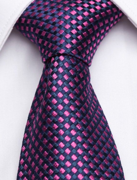 Vellutino Piccolo Navy Blue Silk Tie With Fuchsia By Ties 59 00