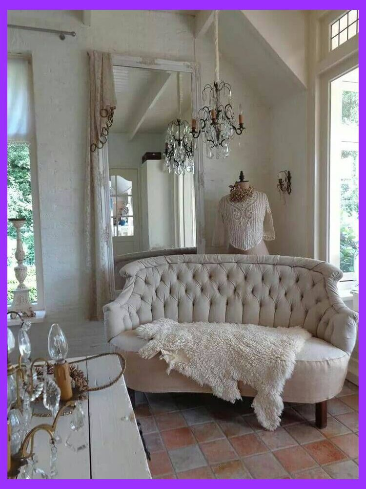 Dress Form and Tufted Sofa with Sheepskin Shabby Chic