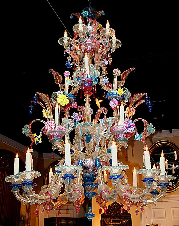 This Elaborate Murano Glass Chandelier is in Excellent Featuring 24 Lights  with Fabulous Blown Glass in Wonderful Colors, wired and - Google Image Result For Http://image0-rubylane.s3.amazonaws.com