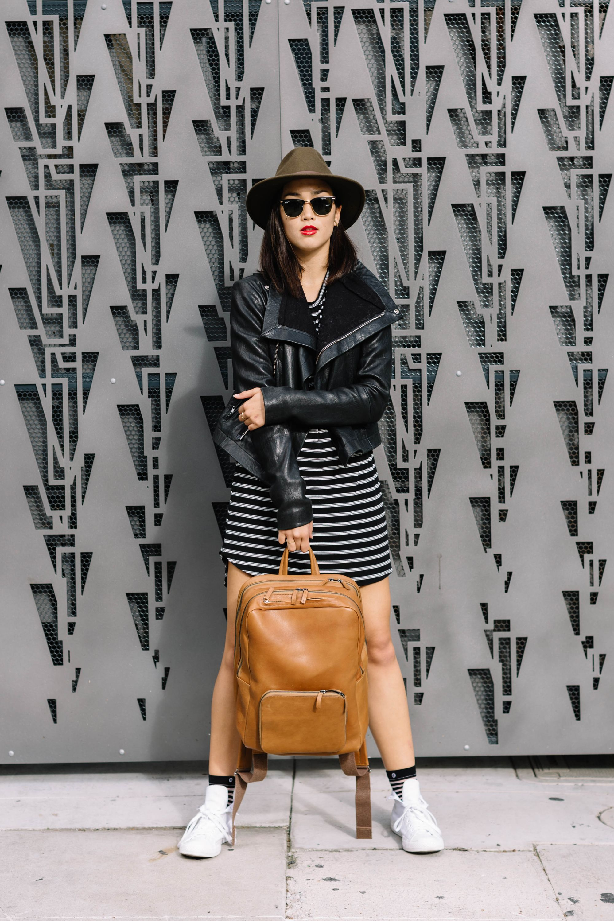 leather backpack, outfit
