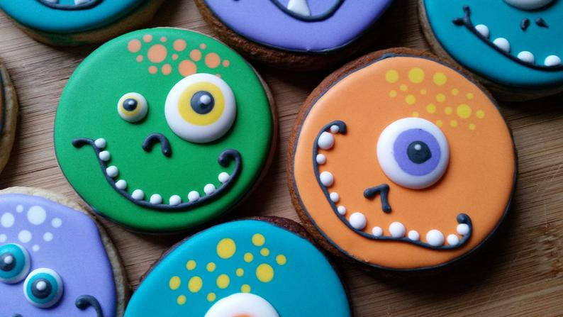 One dozen monster cookies | 3 inches | Halloween cookies | Handmade and made to order | Decorated sugar cookies #halloweencookiesdecorated