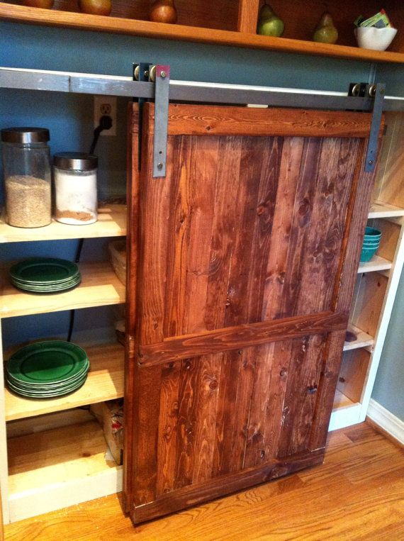 Barn Door Distressed Wood Cabinet   Custom Kitchen Furniture   Reclaimed  Wood Look