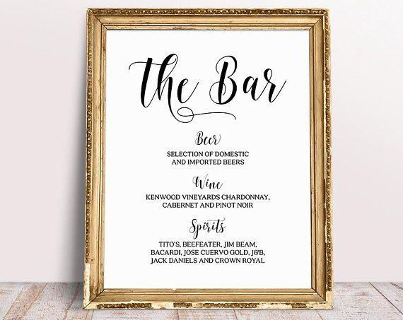 Cheap Wedding Insurance: Wedding Bar Menu Sign, Wedding Signs, Wedding Bar Sign