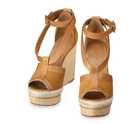 9d3fd291d045 Ibiza Hermes ladies  espadrille in ginger suede goatskin and natural  calfskin