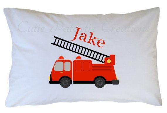 boys personalized pillowcase pillowcase for kids travel pillow case personalized gift for boy firetruck room decor Boys pillowcase