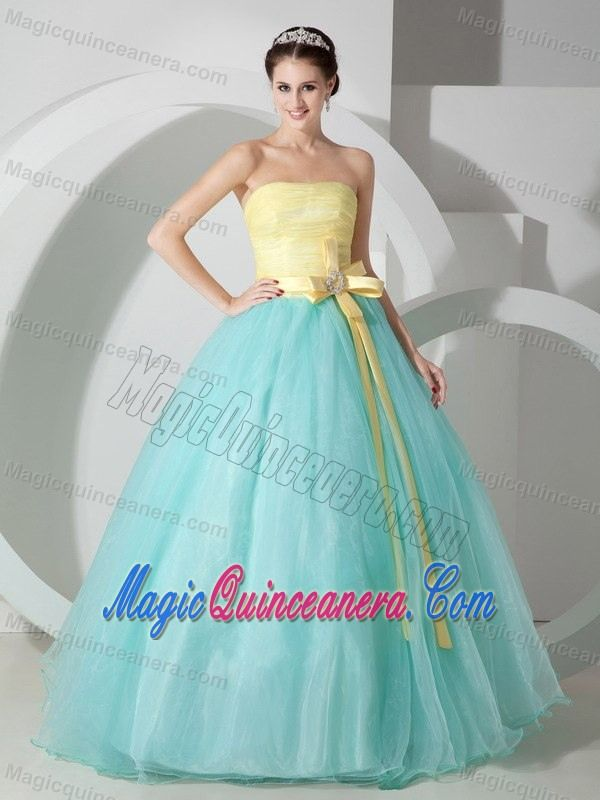 97826dc14a7 Aqua Blue and Yellow Sweet Sixteen Dresses with Beaded Ribbons ...
