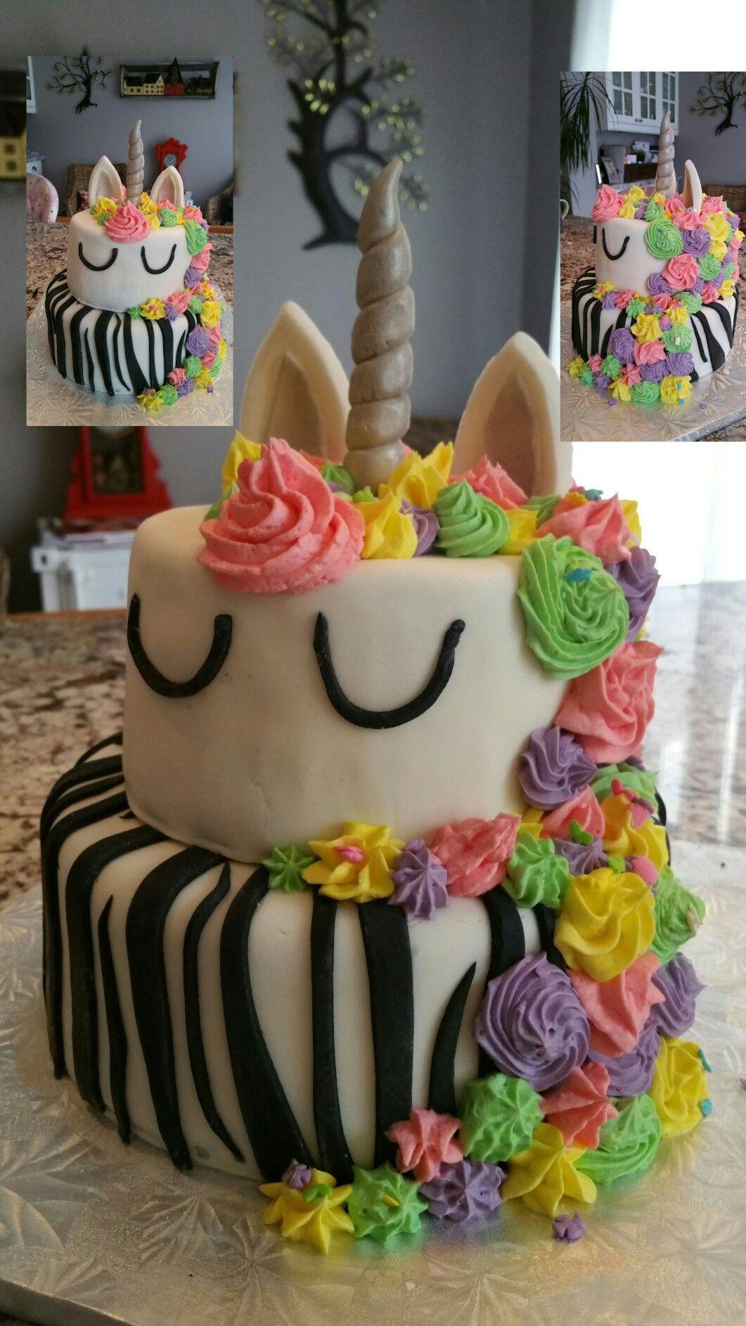 Unicorn And Zebra Cake For 2 Sweet Little Girls Zebra Party