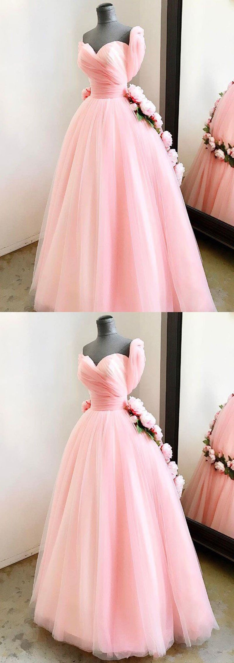 Chic Prom Dresses Sweetheart Ball Gown Floor-length Pink Prom Dress ...