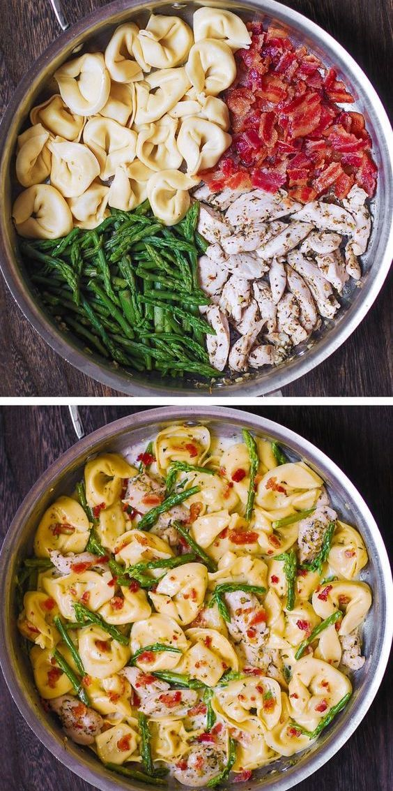 Photo of Creamy Tortellini with Chicken, Bacon and Asparagus