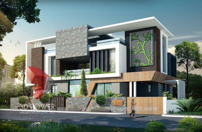 3d Ultra Modern Bungalow Exterior Day Rendering And Elevation Design By 3d Power 2015 Threed