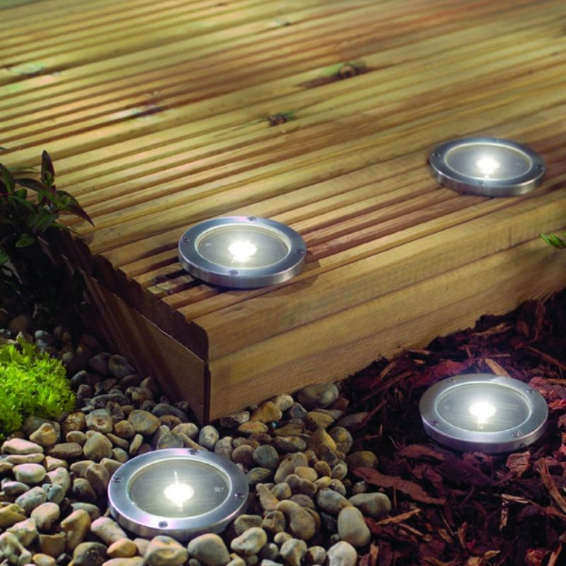 Lighting Outdoor Led Solar Lights Stainless Steel Light Deck Ground A Set Of Four Patio