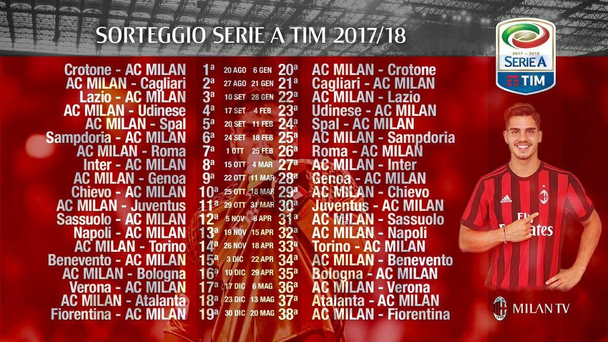 Calendario 2017-18, Milan