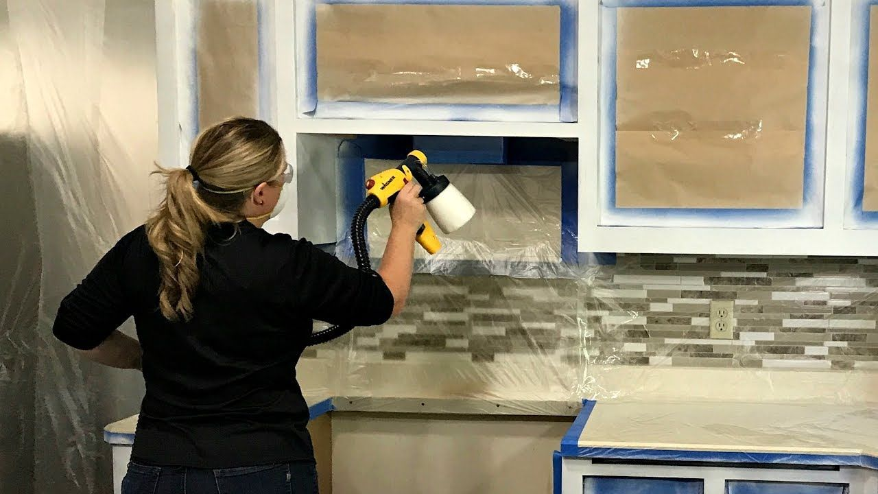 How To Paint Kitchen Cabinets With A Paint Sprayer Youtube In 2020 Painting Kitchen Cabinets Paint Sprayer Kitchen Cabinets