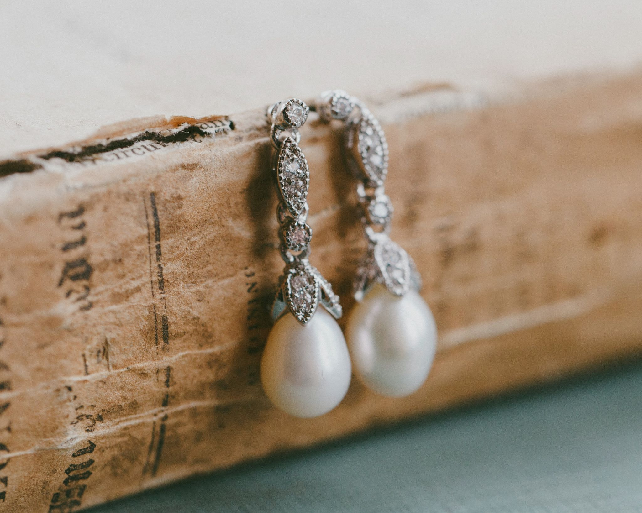 Crystal Encrusted Freshwater Pearl Drop Earrings, Beverly | The Wedding Hair Accessory and Bridal Jewellery Experts. Jules Bridal Jewellery