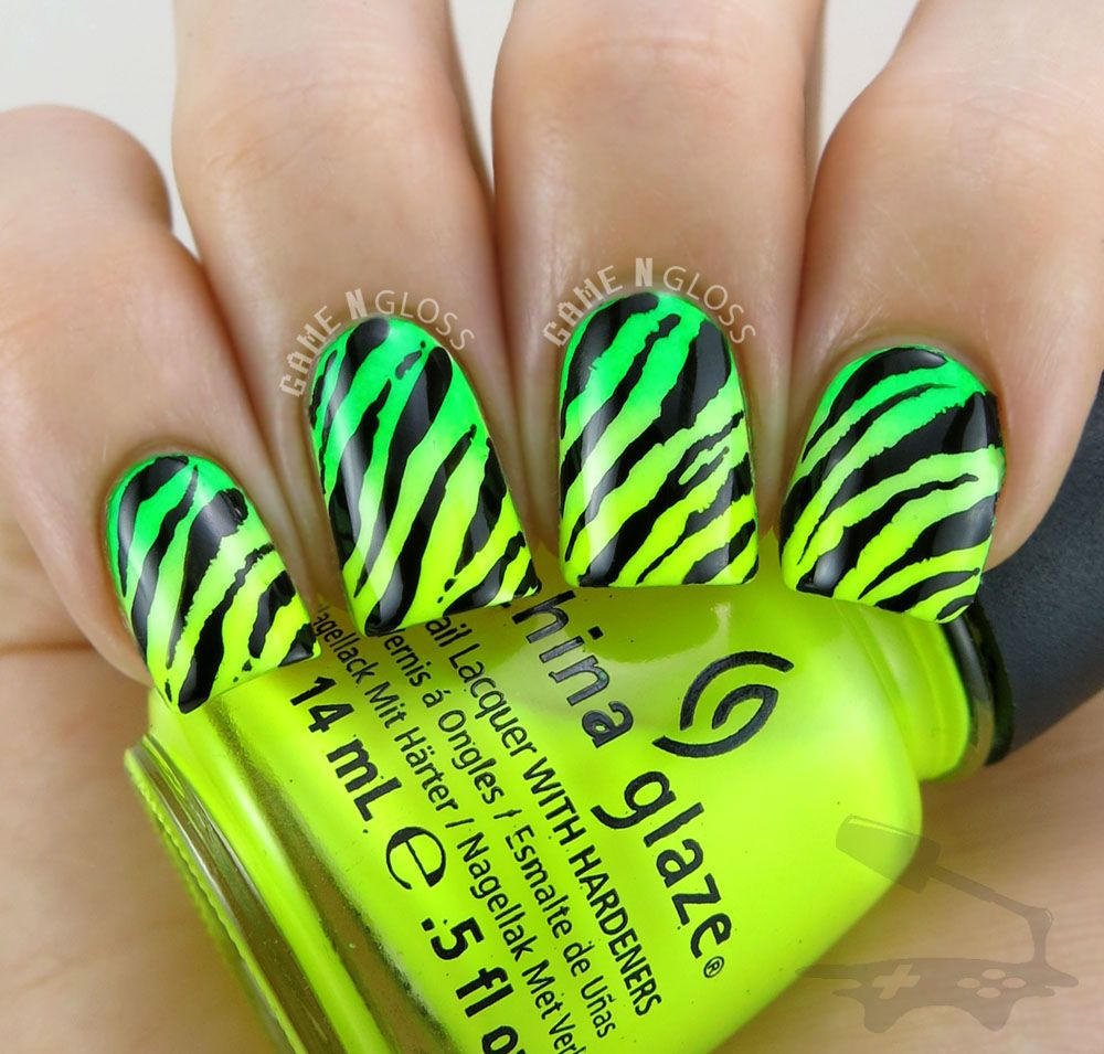 Neon ombre animal print nails for summer - IG gamengloss FB GAME N ...
