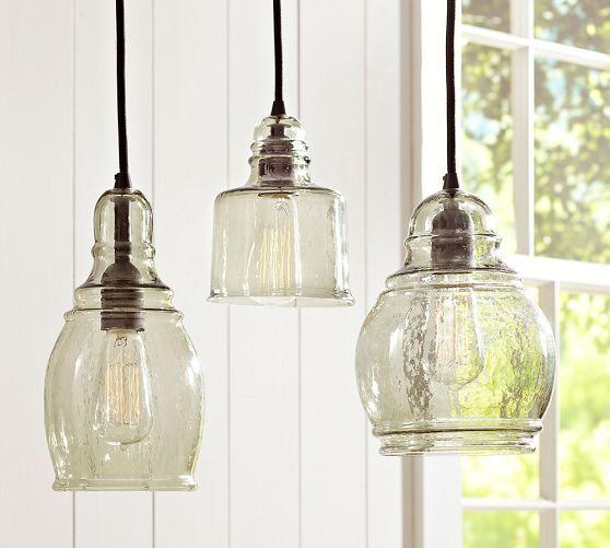 Kitchen Island Pendant Lighting paxton glass single pendants | pottery barn over breakfast bar