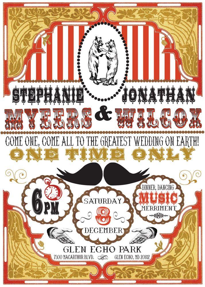 Victorian Circus Wedding Invitation- DIY Printable PDF- dancing ...