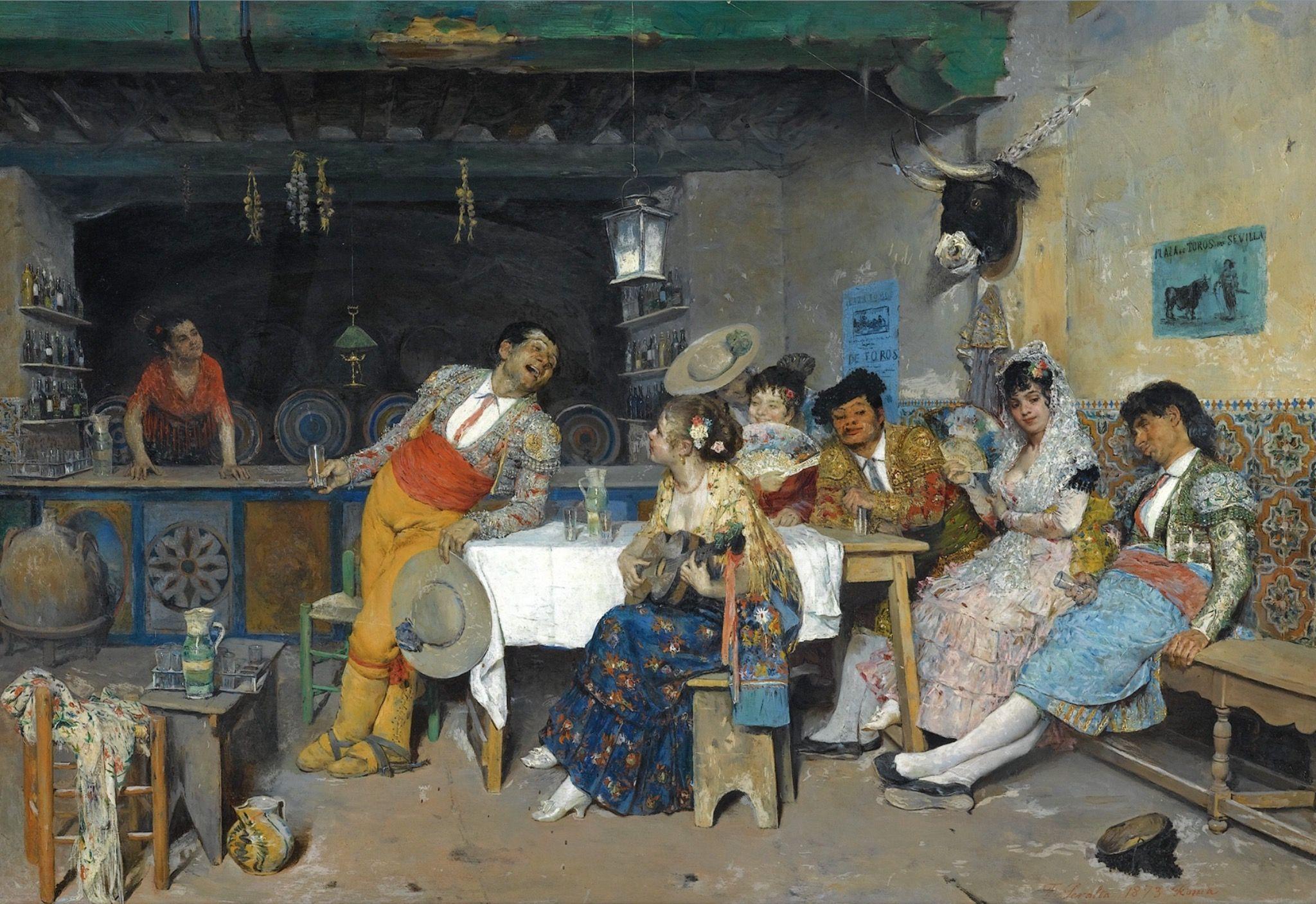 Diversión en la taberna. Francisco Peralta del Campo. 1873