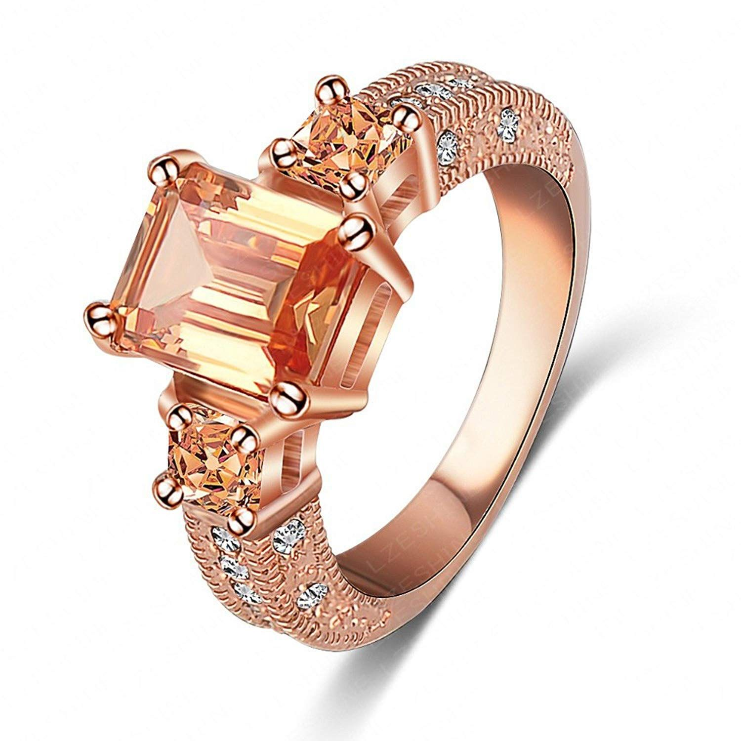 31fa11267 LuckyWeng New Exquisite Fashion Jewelry Rose Gold Austrian Crystal  Champagne Diamond Zircon Ring * Very kind of your presence to have dropped  by to view our ...