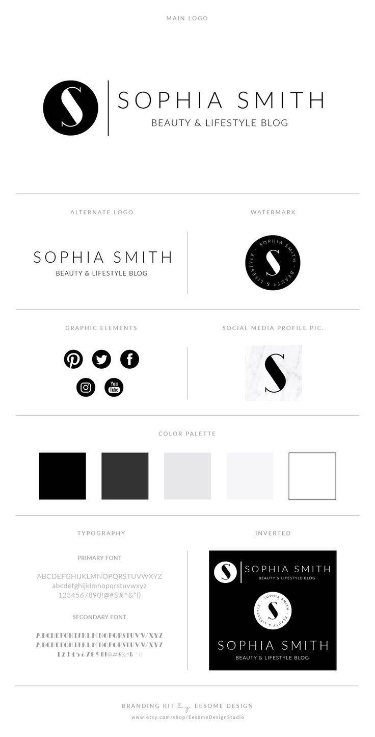 Elegant Script Style Logo Design Branding Package Inc. | Etsy