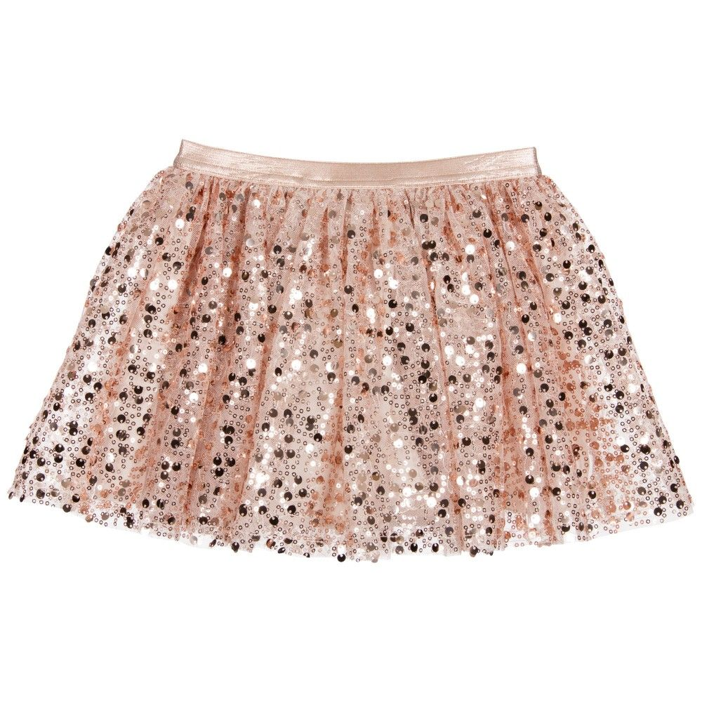 Girls Pink & Rose Gold Sequin Skirt | Gold sequin skirt and Kid ...