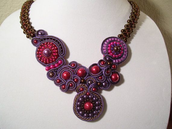 Soutache Freeform Beadwork Ruby Chocolate Plum by BellaLucaDesigns