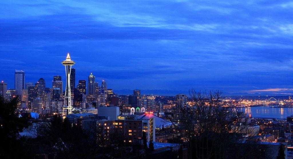 Seattle, blue, hour, skyline