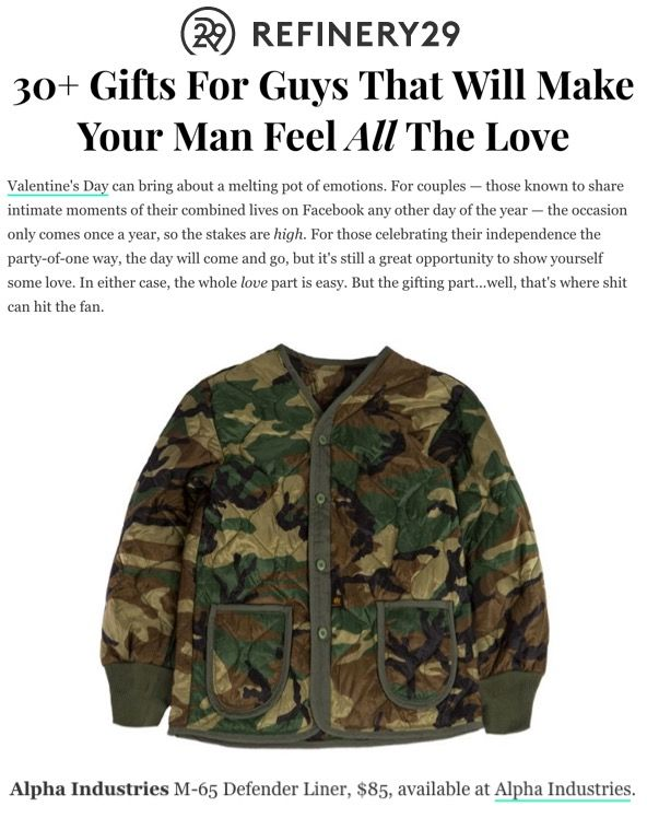 180009218ea1e Refinery29 included Alpha Industries and the M-65 Defender Liner in their  shopping roundup for the best Valentine's Day gifts for the special man in  your ...