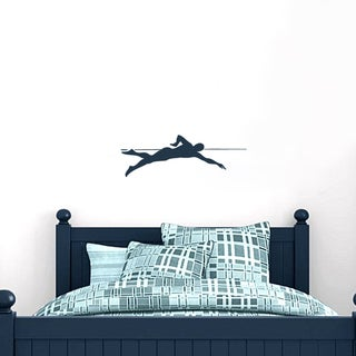 Swimmer 24 Inch Wide X 8 Inch Tall Wall Decal Navy Blue