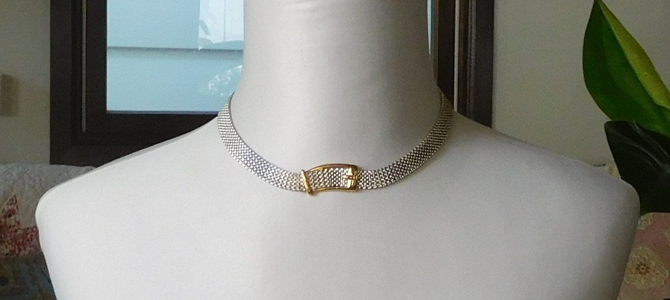 Silver Mesh Choker Flexible Choker Gold Buckle Signed Costume Jewelry Boho Cowgirl Glam Jewelry by LandofBridget on Etsy
