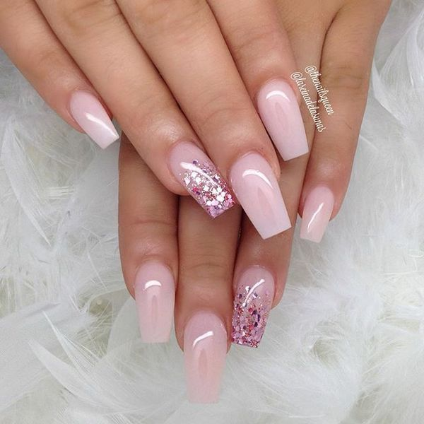Pink and glitter long coffin nails