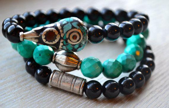 Set of 3 Boho Beaded Stretch Bracelets with by uniquebeadingbyme #boho #bohemian #tibetan