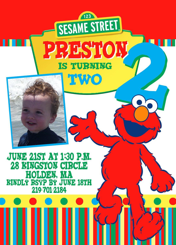 Photo ELMO SESAME STREET custom Birthday Invitations. 15