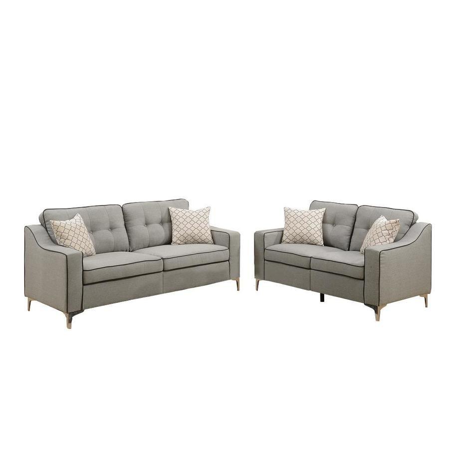 Benzara 2 Sofa Set With Black Welt Trim Lowes Com Living Room Sets Grey Living Room Sets Sofa Set