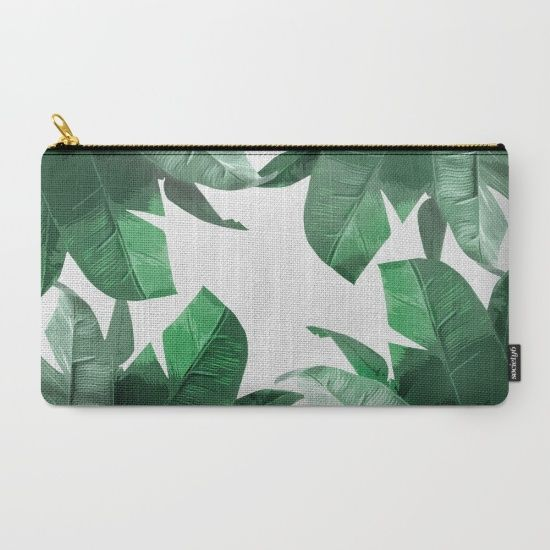 Tropical Palm Leaves Womens Genuine Leather Wallet Zip Around Wallet Clutch Wallet Coin Purse