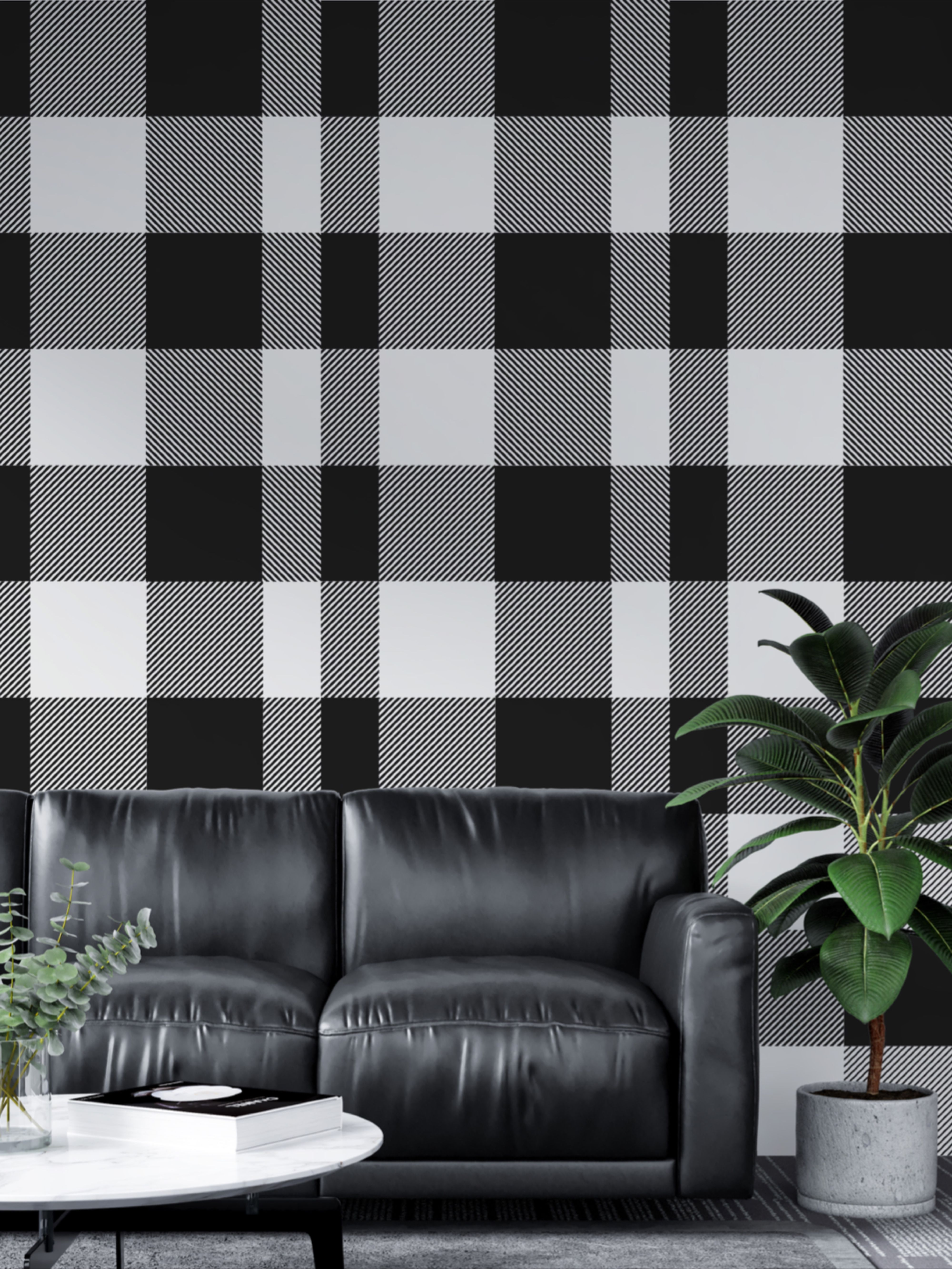 Buffalo Check Wallpaper Plaid Peel And Stick For Walls Black Etsy How To Install Wallpaper Buffalo Plaid Pattern Plaid Wallpaper
