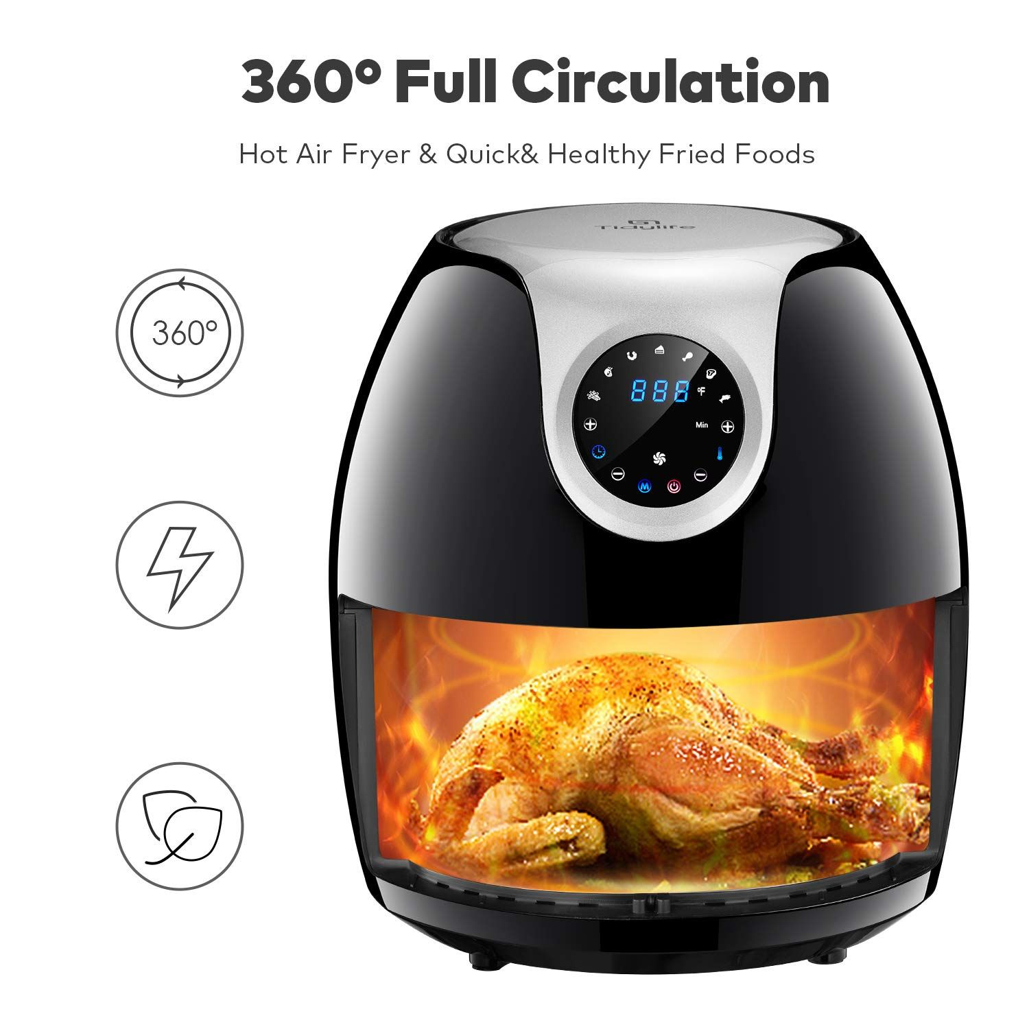 Tidylife 6.3 QT Air Fryer 1700W 8 in 1 Cooking