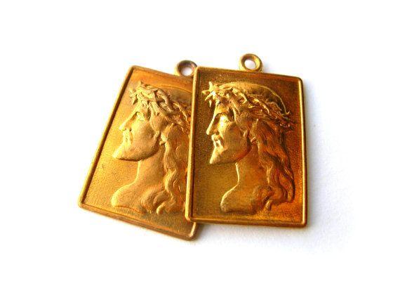 Jesus Charms - Solid Brass - Brass Jesus Pendants - Religious Charms - Religious Pendants by BohemianGypsyCaravan