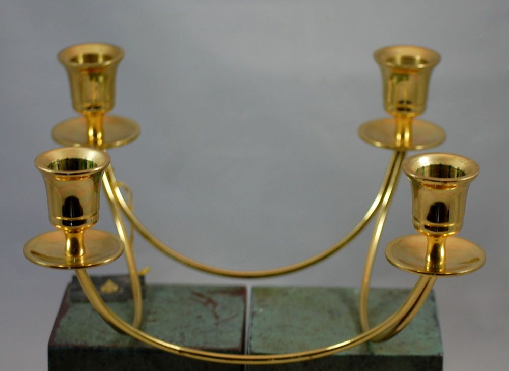 Partylite Brass Quartet Taper Candle Centerpeice Candle Holder #PartyLite #Contemporary
