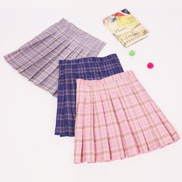 dda5e2599a70 Japanese kawaii grid pleated skirt - Use the code