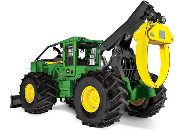 Front View Of The 948L Grapple Skidder Coming Up Over A Hill
