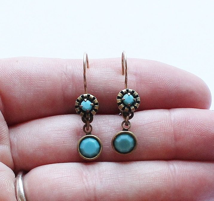 Turquoise Vintage Liz Palacios Signed Designer Dangle Or Drop Earrings By Past On Etsy