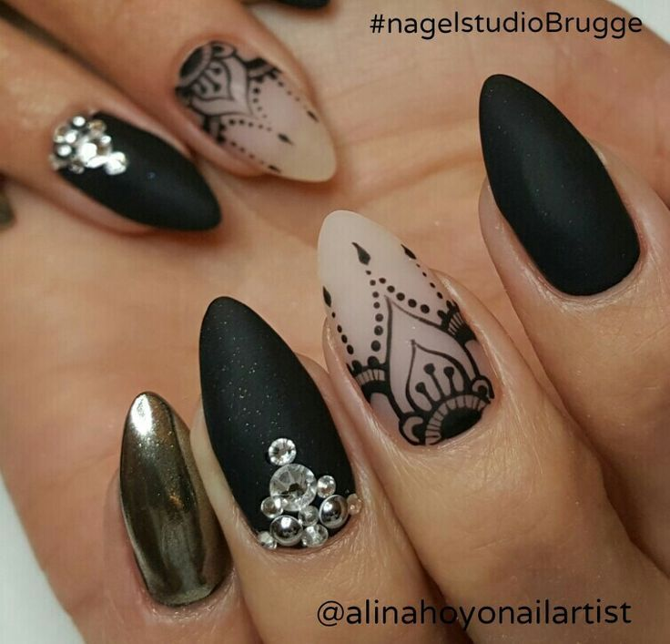 black lace and chrome nails - Black Lace And Chrome Nails Nails Pinterest Chrome Nails