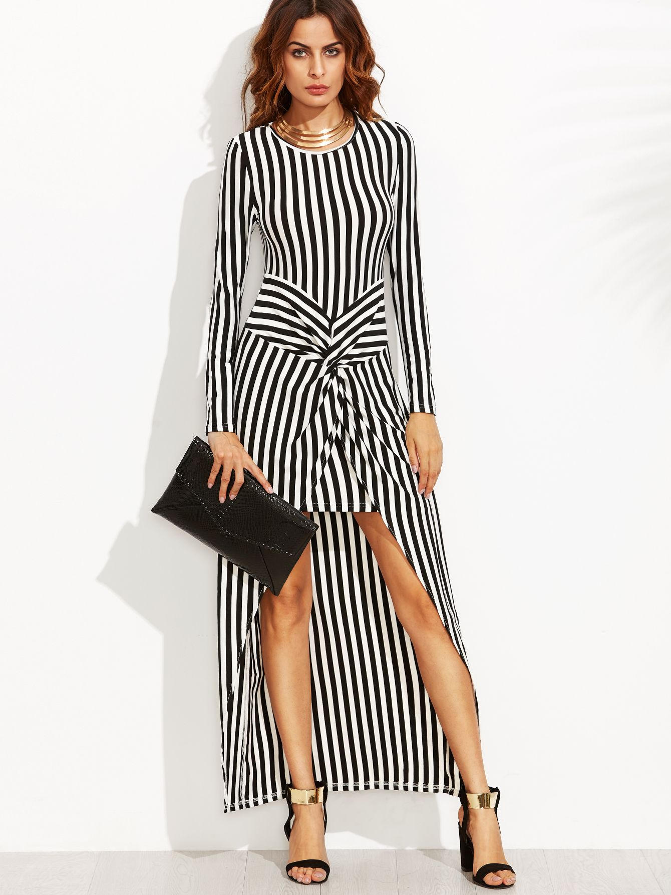 Shop Vertical Striped Knot Front High Low Dress online. SheIn offers ...