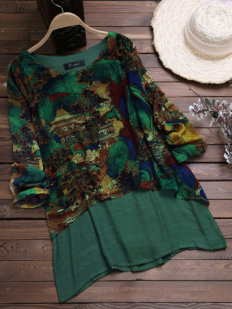 I found this amazing Vintage Chiffon Print Patchwork Plus Size Blouse for Women 1