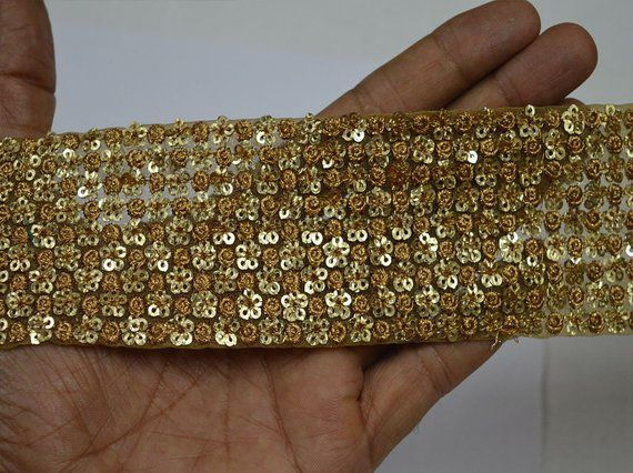 Indian Hand Beaded Bridal Dress Border 9 Yd Trim Ribbon Golden Craft Lace Ideal Gift For All Occasions Trim & Edging
