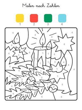 malen nach zahlen: weihnachtskerze ausmalen zum ausmalen | malen nach zahlen, malen nach zahlen