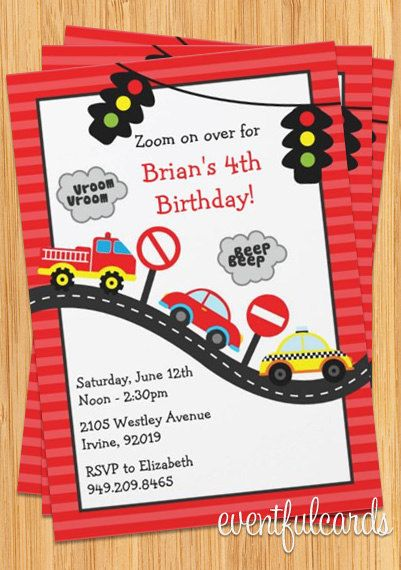Race Car Birthday Invitations with the AGE as the number – Car Party Invitations