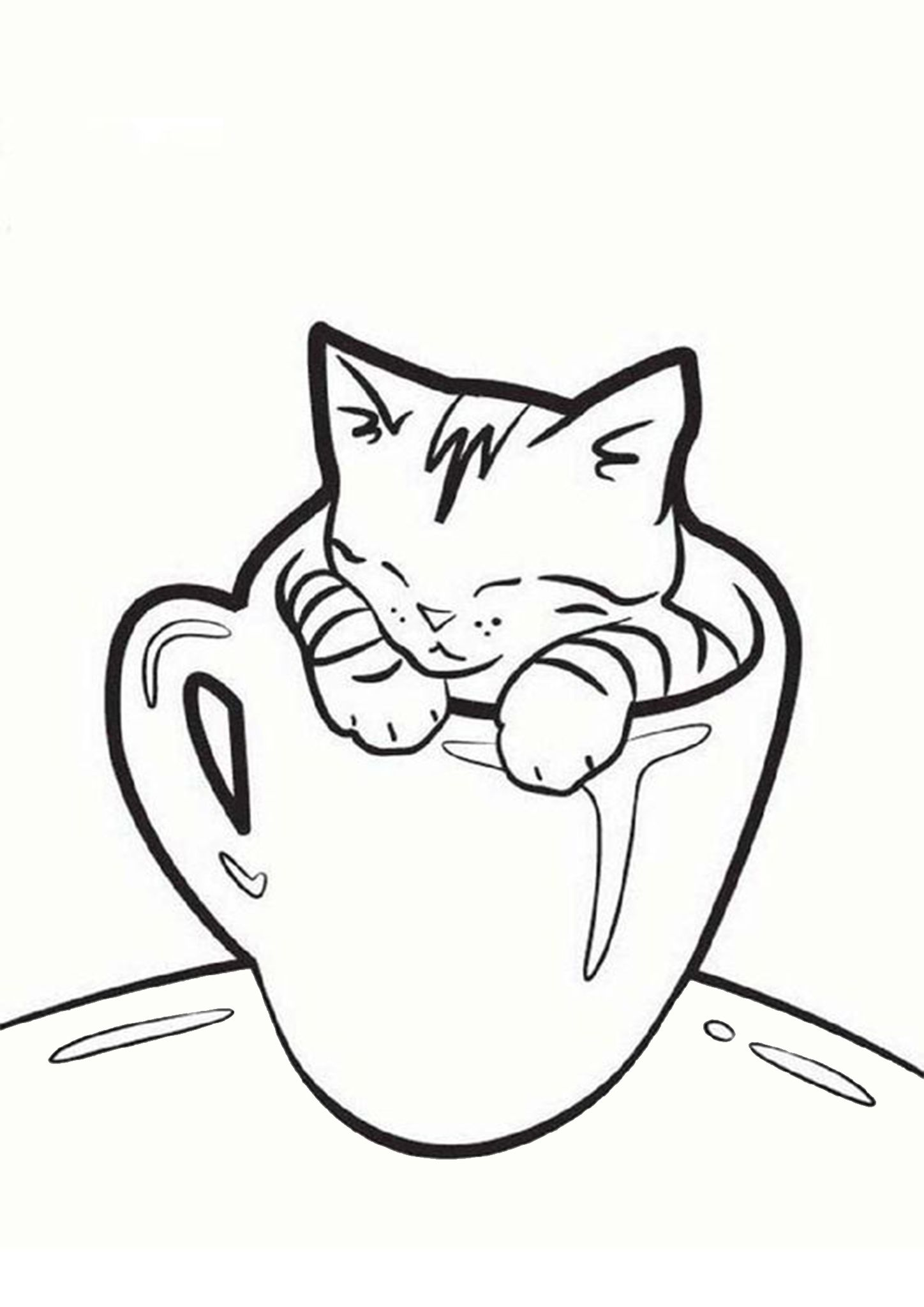 Free Easy To Print Kitten Coloring Pages Simple Cat Drawing Cat Coloring Page Kittens Coloring