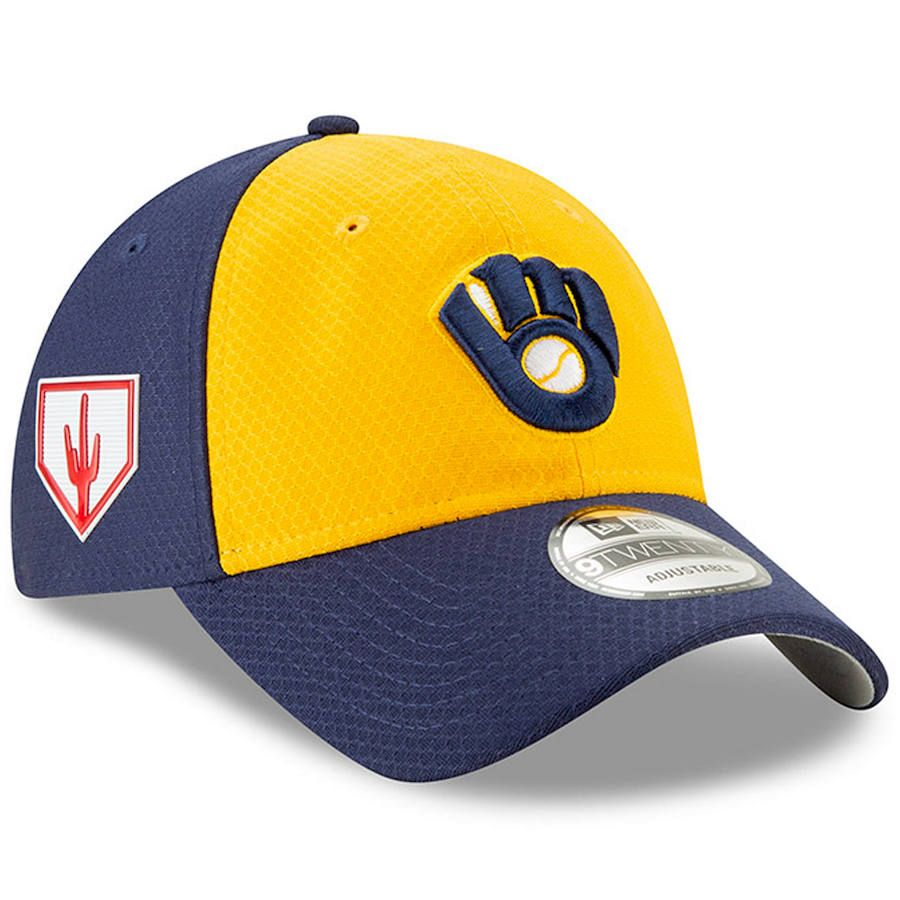 49397cb2c72 Men s Milwaukee Brewers New Era Yellow Blue 2019 Spring Training Alternate 9TWENTY  Adjustable Hat